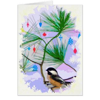 Pássaro do Chickadee no cartão da árvore de Natal