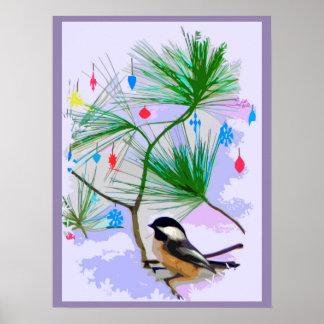 Pássaro do Chickadee no poster da árvore de Natal