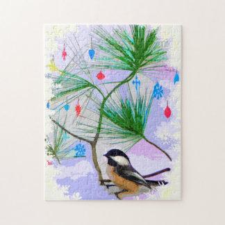 Pássaro do Chickadee no quebra-cabeça de serra de