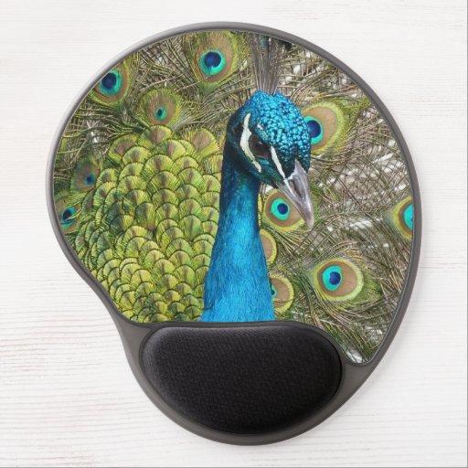 Pássaro do pavão com penas bonitas mouse pads de gel