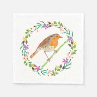 Pássaro do pisco de peito vermelho e flores do guardanapo de papel