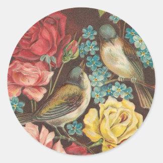 Pássaro do vintage e etiquetas cor-de-rosa