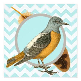 Pássaro do vintage e tea party da pena convite quadrado 13.35 x 13.35cm
