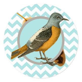 Pássaro do vintage e tea party da pena convite personalizado
