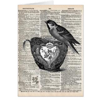 Pássaro e copo de chá cartão comemorativo