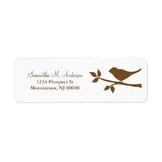 Pássaro em etiquetas de endereço do remetente do