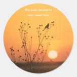 Pássaro em etiquetas do bookplate da fotografia do adesivos em formato redondos