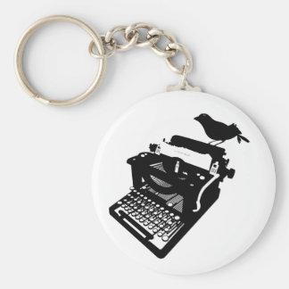 Pássaro em um chaveiro da máquina de escrever