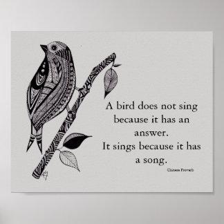 Pássaro em um poster do ramo