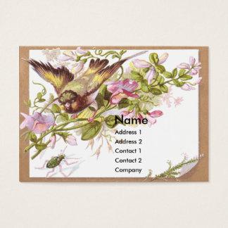 Pássaro, flores & cartão do comércio do Victorian