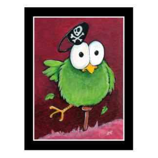 Pássaro lunático do pirata com o cartão do pé de