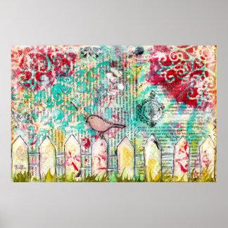 Pássaro & pintura branca dos meios mistos da cerca poster