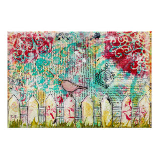 Pássaro & pintura branca dos meios mistos da cerca pôster