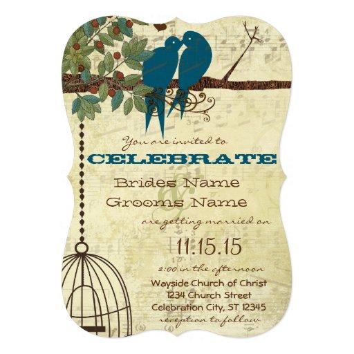 Pássaro romântico do amor que senta-se no convite