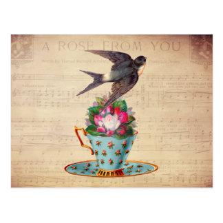 Pássaro, rosas, e Teacup do vintage Cartão Postal
