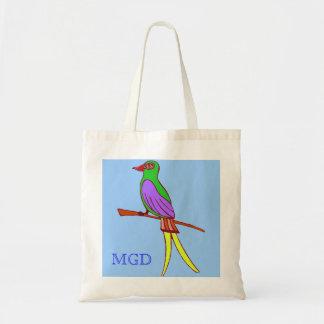 Pássaro tropical colorido com monograma no azul bolsa para compras