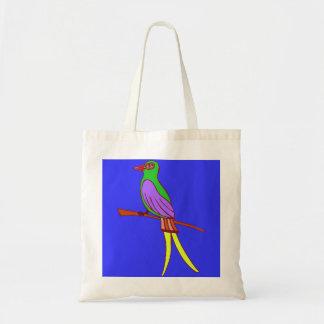 Pássaro tropical colorido no fundo dos azuis bolsa de lona