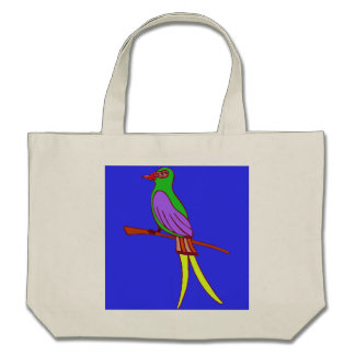 Pássaro tropical colorido no fundo dos azuis marin bolsa de lona