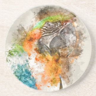 Pássaro verde e alaranjado do Macaw Porta Copos De Arenito