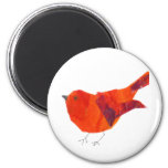 Pássaro vermelho bonito ímã redondo 5.08cm