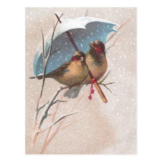 Pássaros abaixo do guarda-chuva azul cartão postal