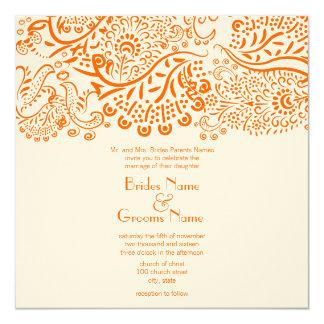 Pássaros alaranjados do amor que Wedding o convite