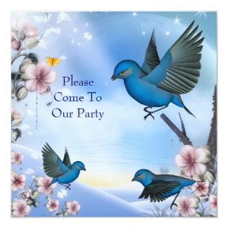 Pássaros azuis do partido do convite em