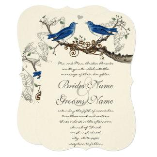 Pássaros azuis do vintage que Wedding convites