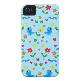 Pássaros bonitos e flores - azul capinhas iPhone 4