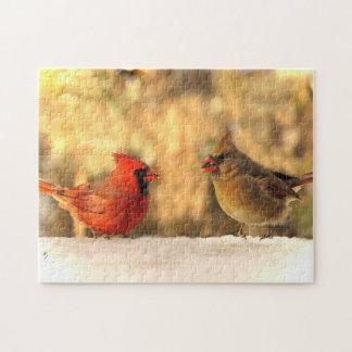 Pássaros cardinais no quebra-cabeça do outono
