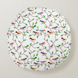 Pássaros coloridos almofada redonda