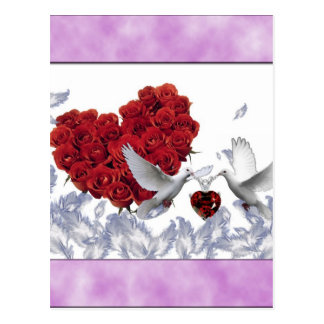 pássaros cor-de-rosa do amor do coração cartoes postais