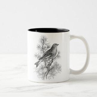 Pássaros cor-de-rosa do passarinho do pássaro da caneca de café em dois tons