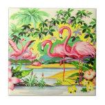 Pássaros cor-de-rosa retros do flamingo do vintage azulejo de cerâmica