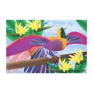 Pássaros de canvas do paraíso impressão de canvas envolvidas