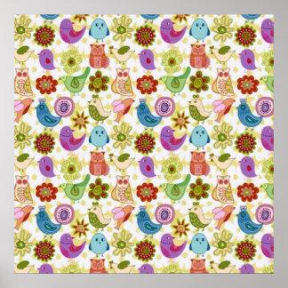 passaros de flores e do divertido do padrão poster