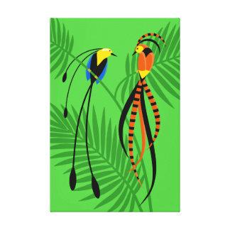 Pássaros de paraíso coloridos brilhantes impressão em tela
