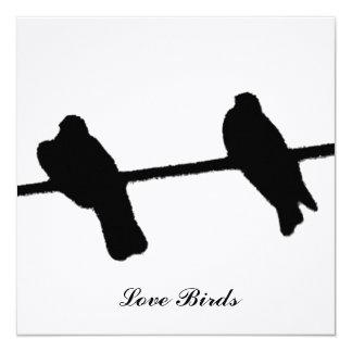 Pássaros do amor convite quadrado 13.35 x 13.35cm