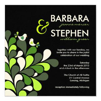 Pássaros do amor - convites verdes do casamento de