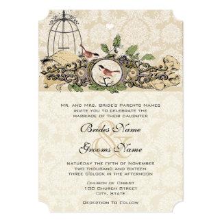 Pássaros do amor da bolota do Birdcage da floresta Convite 12.7 X 17.78cm