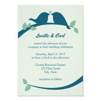 Pássaros do amor do marinho que Wedding Convite 12.7 X 17.78cm
