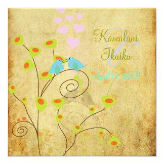 Pássaros do amor do vintage, fundo do pergaminho convite quadrado 13.35 x 13.35cm