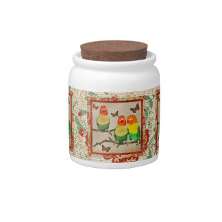 Pássaros do amor & frasco de biscoito ambarino das pote de doce