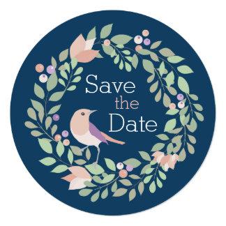 Pássaros do amor & marinho redondo das letras convite quadrado 13.35 x 13.35cm