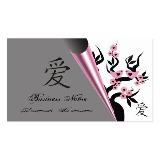 Pássaros do amor na árvore de Sakura e no símbolo  Cartões De Visita