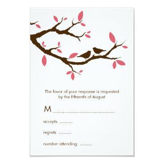 Pássaros do amor no casamento da árvore convite 8.89 x 12.7cm