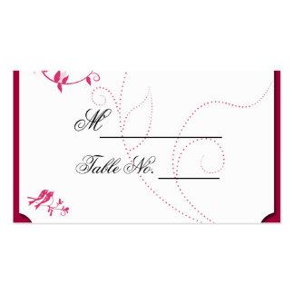 Pássaros do amor no rosa e no cartão do lugar de cartão de visita
