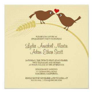 Pássaros do amor no trigo - festa de noivado - convites personalizado