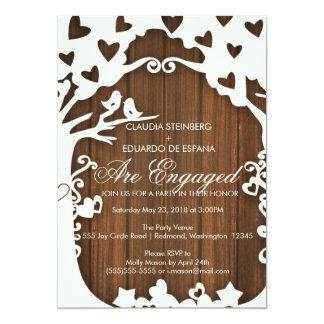 Pássaros do amor para sempre em Woodpanel Convite 12.7 X 17.78cm