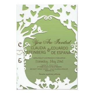 Pássaros do amor para sempre na verde azeitona convite 12.7 x 17.78cm